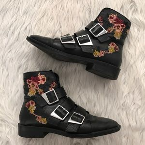 Zara Embroidered Floral Buckle Boots